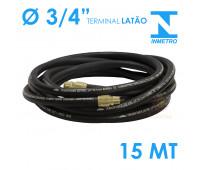 Mangueira para Abastecimento Lubmix 3-4 Polegada Homologada pelo Inmetro 15 Metros Terminal em Latão 1F 1G
